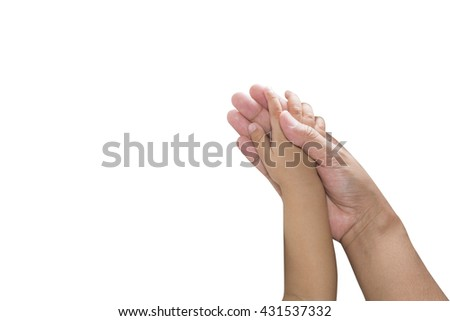 hand of the baby on a white background