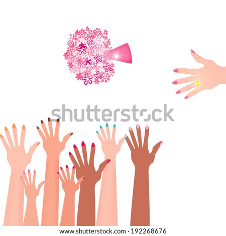 Hand of the bride, with golden ring throwing wedding bouquet isolated on white background - stock photo