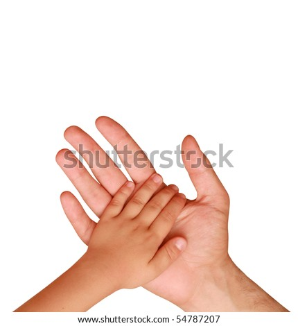 hand of the child in a man's hand - stock photo