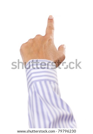 Hand of Woman in Dress Shirt Pointing or Pushing Button Isolated on a White Background. - stock photo