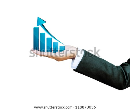 Hand of women business graph - stock photo