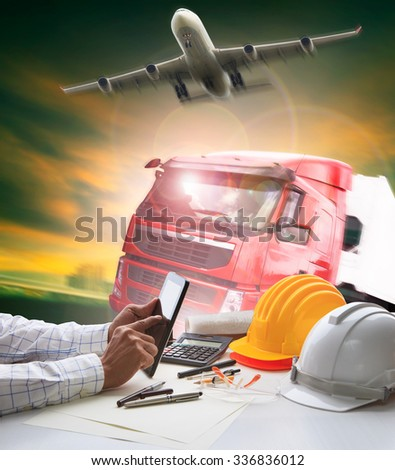 hand of working man in shipping ,logistic freight cargo air and land  transport business  - stock photo