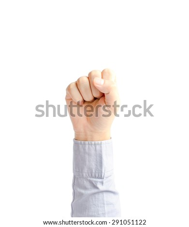 Hand of young business man with clenched a fist - isolated on a white background with clipping path - stock photo