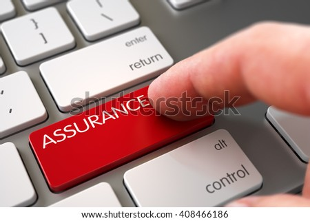 Hand of Young Man on Assurance Red Button. Man Finger Pressing Assurance Key on Modern Keyboard. Computer User Presses Assurance Red Button. 3D Render. - stock photo