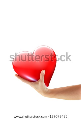 Hand offering huge love heart symbol - isolated on white