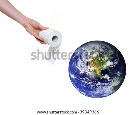 hand offering toilet paper to planet earth isolated on white backround. . Some components of this montage are provided courtesy of NASA, and can be found at http://visibleearth.nasa.gov - stock photo