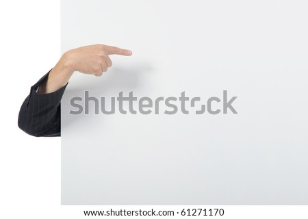 Hand on a billboard. Isolated on white background - stock photo