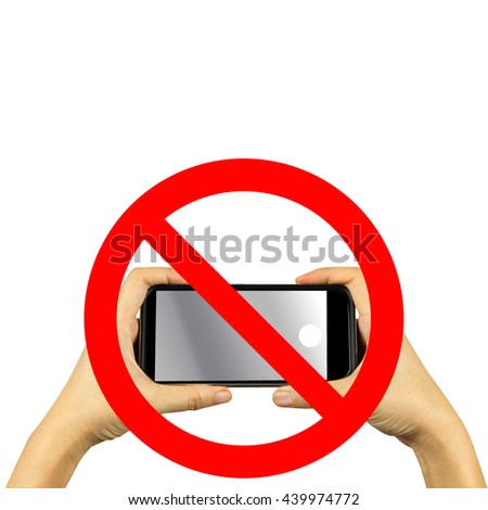 hand on a no mobile phones sign isolated in white background