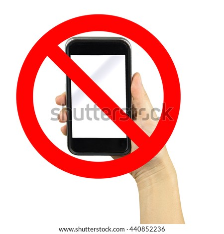 hand on a no mobile phones sign isolated in white background - stock photo