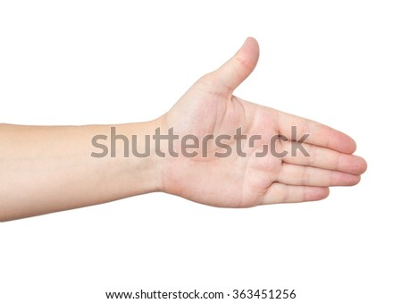 hand on a white background - stock photo