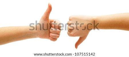 Hand. On a white background. Isolated. - stock photo
