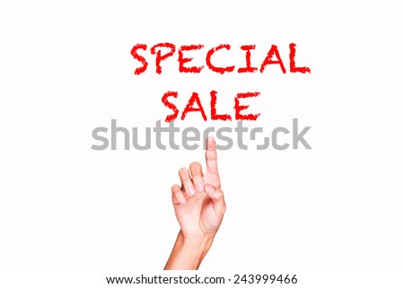 Hand on a white background pointing discount digital - stock photo