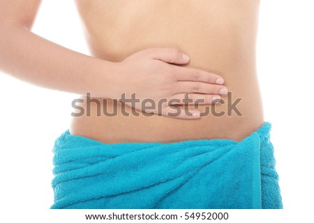 Hand on belly isolated on white background - stock photo