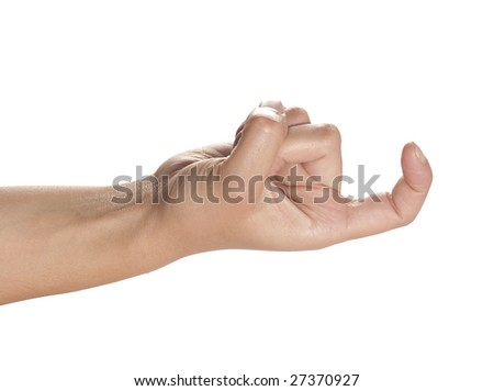hand on white background forming hook - stock photo