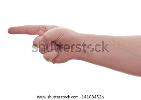 hand on white background - perfect indicates the direction of