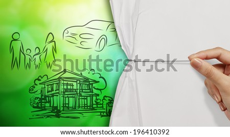 hand open crumpled paper to show planning family future green nature background as concept - stock photo