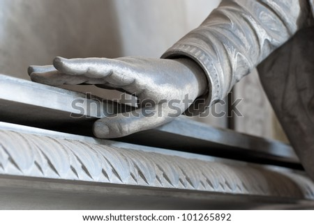 hand opening coffin - stock photo