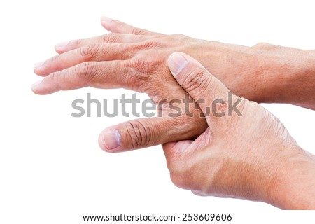 hand pain isolate on white background - stock photo