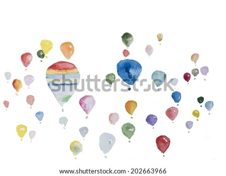 Hand paint watercolor balloon pattern. (Can be used as texture for cards, invitations, DIY projects, web sites or for any other design.  - stock photo