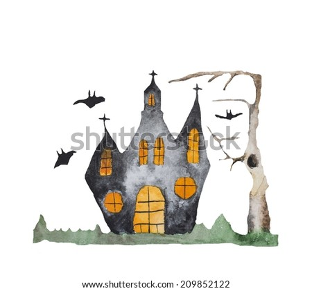 Hand paint watercolor helloween pattern. (Can be used as texture for cards, invitations, DIY projects, web sites or for any other design.  - stock photo