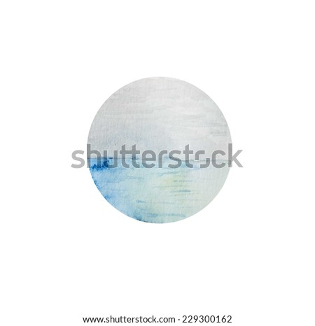 Hand paint watercolor sea pattern. (Can be used as texture for cards, invitations, DIY projects, web sites or for any other design) - stock photo