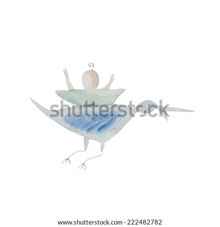 Hand paint watercolor stork pattern. (Can be used as texture for cards, invitations, DIY projects, web sites or for any other design)  - stock photo