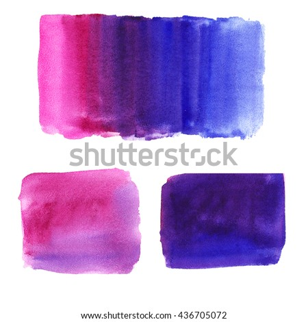 Hand painted abstract watercolor background. Pink color. The gradient background. Gradient, rectangle. Pink, purple, blue. - stock photo