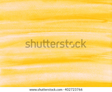 Hand painted abstract watercolor background. Yellow color.  - stock photo