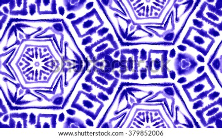 Hand painted abstract watercolor shibori seamless pattern for textile and surface design in china blue color. Ornament for swimwear - stock photo