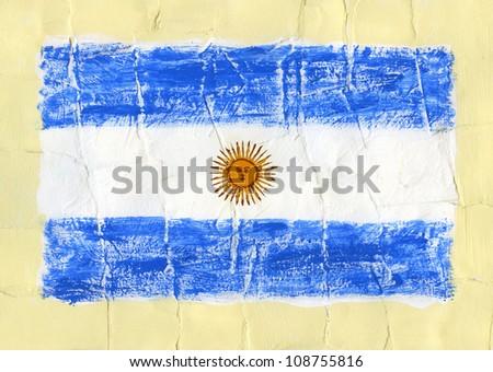 Hand painted acrylic flag of Argentina - stock photo