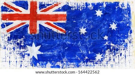 Hand painted acrylic flag of Australia - stock photo