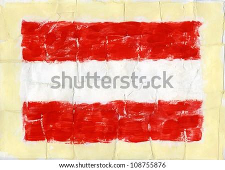Hand painted acrylic flag of Austria - stock photo