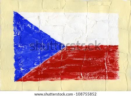 Hand painted acrylic flag of Czech Republic - stock photo