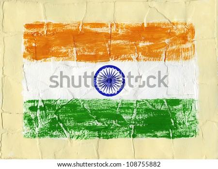 Hand painted acrylic flag of India - stock photo