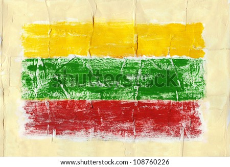 Hand painted acrylic flag of Lithuania - stock photo