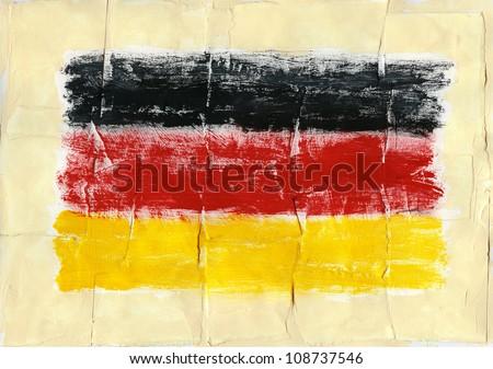 Hand painted acrylic German  flag - stock photo