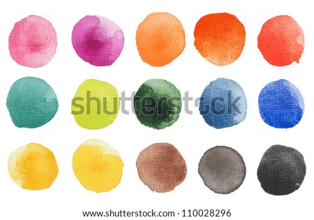 Hand painted acrylic multicolor brush blobs with very clear texture of canvas. Isolated. Made myself. - stock photo