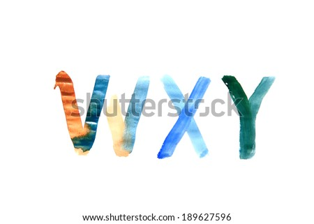 hand painted alphabet and numbers isolated on white background