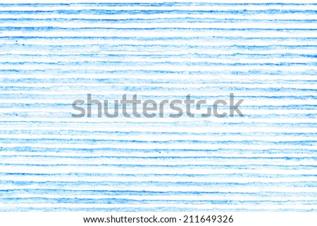 Hand painted Blue Abstract Watercolor striped background with paper texture - stock photo