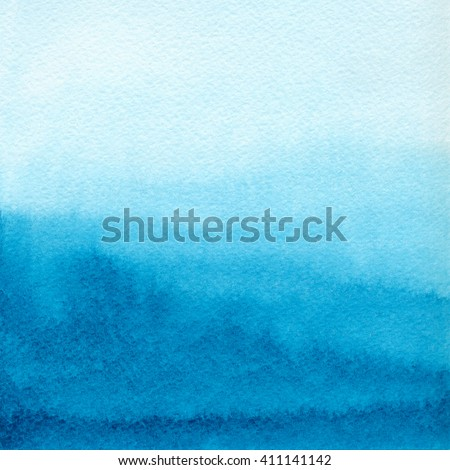 Hand painted blue watercolor background. Watercolor wash - stock photo