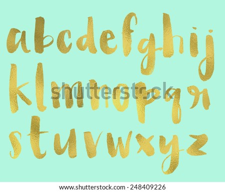 Hand Painted Brush Lettered Alphabet With Gold Foil Texture - stock photo