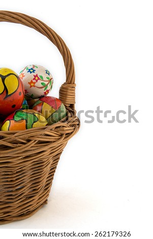 hand painted eggs ,photographed on a white background