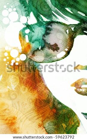 Hand painted fashion illustration - stock photo