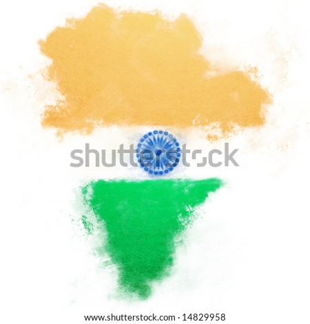 Hand painted flag in the shape of India. - stock photo