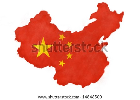 Hand painted flag of China shaped as the country. - stock photo
