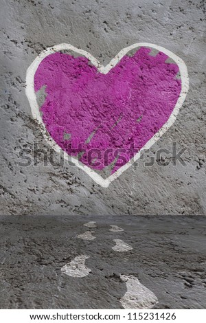 Hand painted heart on the old wall - stock photo