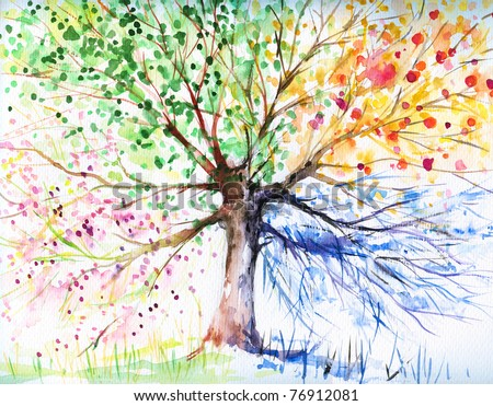 Hand painted illustration of four season tree.Picture I have created with watercolors. - stock photo