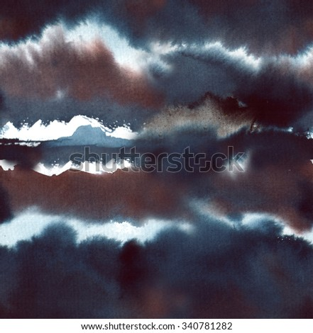 Hand painted ink, watercolor abstract seamless background. - stock photo