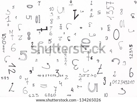 Hand painted numbers on a white background - stock photo