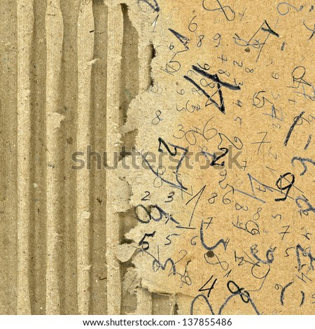 hand painted numbers over brown cardboard background - stock photo